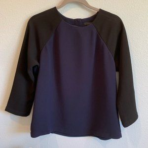 J.Crew Crewneck Black & Navy 3/4 Sleeve Blouse
